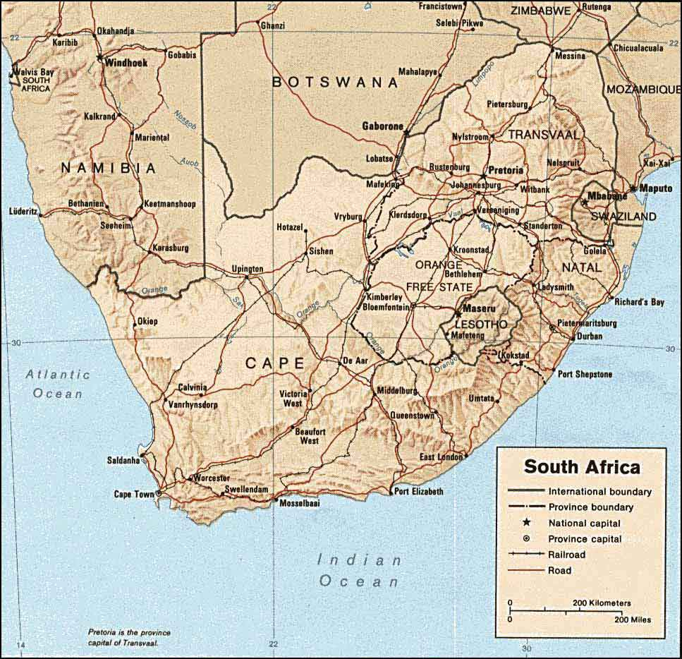 Landkarte Sudafrika Republic Of South Africa